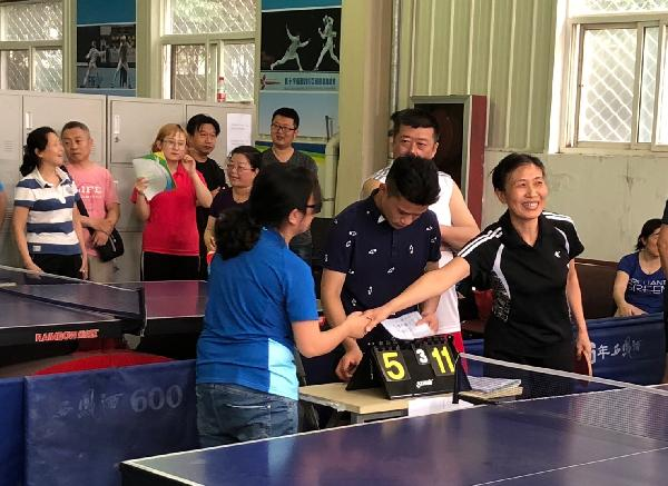 西安文理学院2018年教职工乒乓球赛开赛